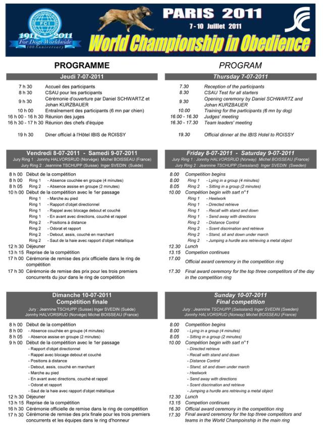programme championnat obéissance